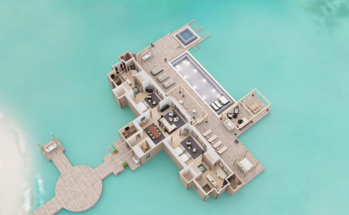 2 Bedroom Overwater Villa with Pool