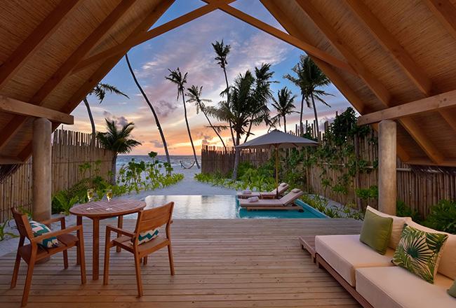 Pool Beach Villa Sunset